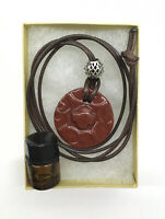 Handmade Ceramic Aromatherapy Essential Oil Diffusing Necklace Ornate Red