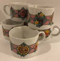 """Vintage Mary Engelbreit """"Garden Time"""" Mugs Collectable 6 Cup Set. 1994"""