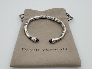 David Yurman 5mm Cable Classic Bracelet with Amethyst and Diamonds Size Medium