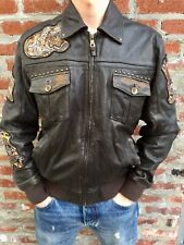 ED HARDY FOR AVIREX BY CHRISTIAN AUDIGIER BLACK LEATHER BOMBER JACKET L TATTOO