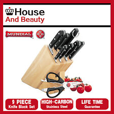 New MUNDIAL Bonza 9 Piece Knife Block Set Wooden Block Scissors Stainless Steel