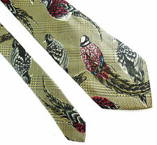 """Lands' End Pheasant Classic Silk Tie Brown Green Red 3.5"""" x 57"""" Game Bird"""