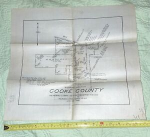 1928 Cooke County Texas Working Sketch Linen Map by Architect John Menifee
