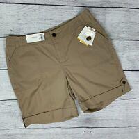 Croft & Barrow Khaki Tan Shorts sz 12 Stretch Natural Fit Cuffed Hem New NWT