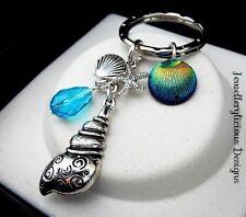 Beautiful Conch Clam Starfish Blue Teardrop Shell Beach Theme Keyring Key Ring