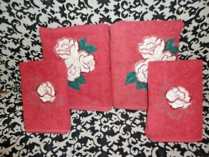 VINTAGE CANNON EMBROIDERED ROSES ROSE PINK FLORAL (2PC) BATH & HAND TOWELS SET