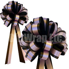 """Black Pull Bows with Pink Stripe - 8"""" Wide, Set of 6, Valentine's Day, Easter"""