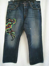 ED HARDY BLACK PANTHER & COBRA FIGHT JEANS MEN SIZE W38 x L32  HOT NEW