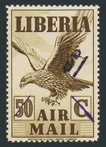 Liberia C50,MNH.Michel A379. Air Post 1945.Eagle in flight.New value surcharged
