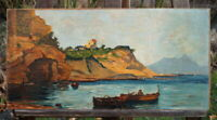 altes Ölgemälde Küstenlandschaft 55 x 27 cm perfekte Künstlerarbeit
