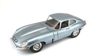 JAGUAR E TYPE COUPE model road car Lt blue 1961 1:18th BURAGO 12044B