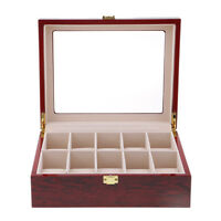 10 Slots Wood Watch Display Case Holder Glass Top Jewelry Storage Organizer