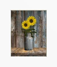Sunflowers Farmhouse Kitchen Dinning Room Home Decor Wall Art Matted Picture