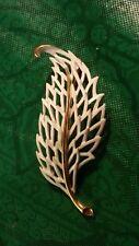 Monet White Enamel Gold tone Leaf Brooch Vintage Pin