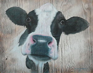 Black and White Cow Wooden Sign Plaque Prints Painting by Sean Aherne Art
