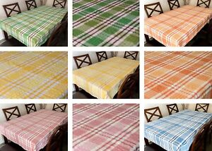Seersucker Fabric Check Tablecloth 100% Cotton Kitchen Dining Table linen