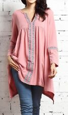 XL NWT Women's Reborn Pink Embroidered Notch Neck LS Tunic