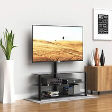 "3 Tiers Tempered Glass TV Stand w/ 30-60"" Bracket Mount Swivel Adjustable Black"