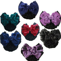 # Satin Bow Barrette Hair Clip Hairpins Cover Net Bun Snood Bowknot Women Bridal