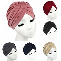 Indian Stretchable Chemo Pleated Turban Hat Head Wrap Hijab Cap Women Fashion