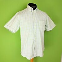 Barbour Mens Shirt Short Sleeve Green Check Size Medium Regular Fit Cotton