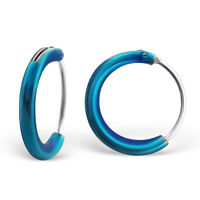 Electric Blue Coloured Sterling Silver 1cm Hoop Earrings - Free Gift Pouch Small