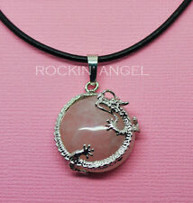 Natural Rose Quartz Dragon Necklace Pendant Reiki Healing Chakra Ladies Gift