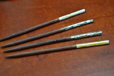 4 PCS ASSORT MOTHER OF PEARL WOOD HAIR STICK PINS