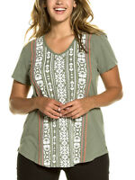 Ulla Popken t-shirt  top tunic plus size 20/22 24/26 khaki cotton short sleeve