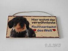 Türschild Rauhaardackel, Tierschild Hund aus Holz, Holzschild, Herstellung D