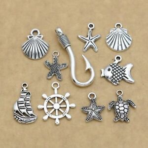 20pcs Antique Silver Plated Anchor Shell Charm for Jewelry Making  Accessories