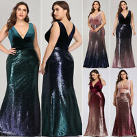 Ever-Pretty US Plus V-neck Party Evening Dress Sequins Mermaid Formal Gown 07767