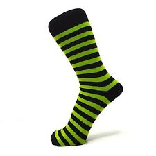 Lime Green And Black Thin Striped Ankle Socks (Size: 4-7)