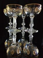 8 GOLD ENCRUSTED TIFFIN PALAIS VERSAILLES Cut Crystal Martini Champagne Glasses