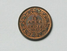 India (British) 1932 King George V 1/12 ANNA Coin with Red/Brown Toned-Lustre