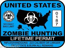 United States Zombie Hunting Permit sticker -- outbreak response team decal BLUE