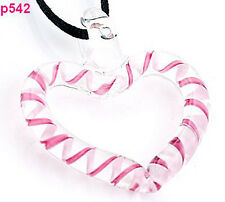 1pc pink heart shape Murano Lampwork Glass Pendant Necklace p542