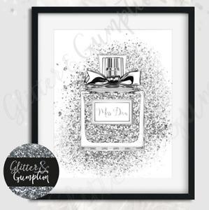 Fashion PRINT SILVER Faux Glitter miss diva Perfume beauty room OFFICE Art print