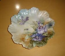 Antique French Porcelain Serving/Cabinet Plate Panses, Hallmarked AK
