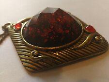 Large vintage necklace Brass pendant Heavy boho Jeweled gold tone red stone