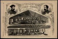 Libey Prison Interior Richmond Union officers 1863 Civil War wood engraved print