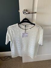 Zara Trafaluc White Lace T-shirt Size L