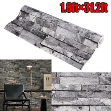 US SHIP 53cm×9.5m 3D Modern Wallpaper Brick Pattern Waterproof Wall Paper Decor