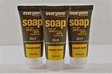 x3 Everyone Soap 3 in 1 Shampoo Body Wash Bubble Bath 2 Oz Mini Coconut + Lemon