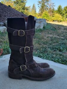 Fiorentini Baker Eternity Brown Leather Suede Mid Calf Buckle Boots 39 8 1/2...