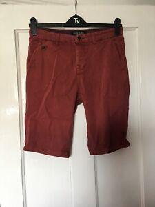 "River Island Size 30"" 30W Burgundy Cotton Shorts. (s11)"