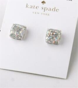 Kate Spade New York Mini Small Square Stud Earrings Opal Glitter Silver