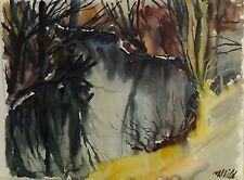 SCHILD -(?) signert - Expressionismus Aquarell: TÜMPEL IM WALD