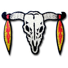 Indian Bull Buffalo Head Feather Patch Iron On Harley Biker Motorcycle Skull MC