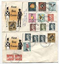 AUSTRALIA • 1966 Erskine Stamp Service generic 2 FDCs bearing definitives to 20c